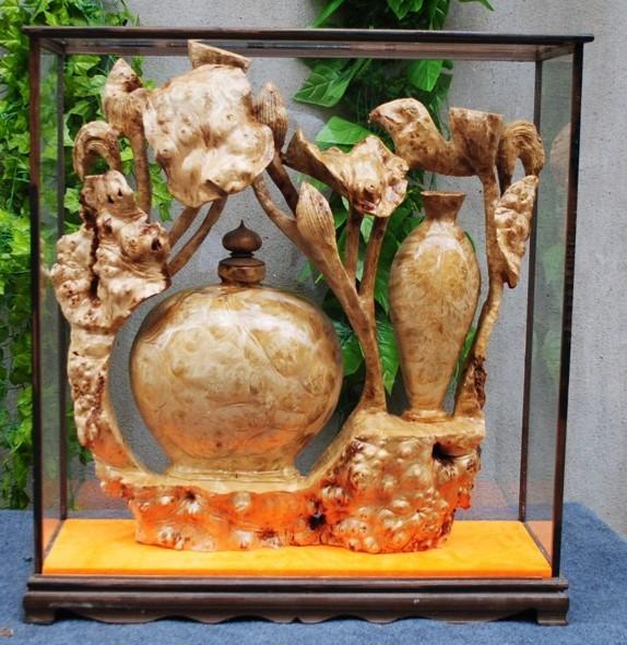 根雕木雕实木精雕工艺品黄金樟送礼礼品雕刻和平花