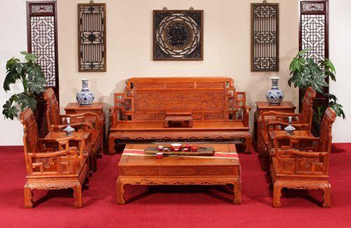 东阳红木家具缅甸花梨木六合同春沙发