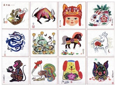 中国邮票设计大师设手绘十二生肖真迹