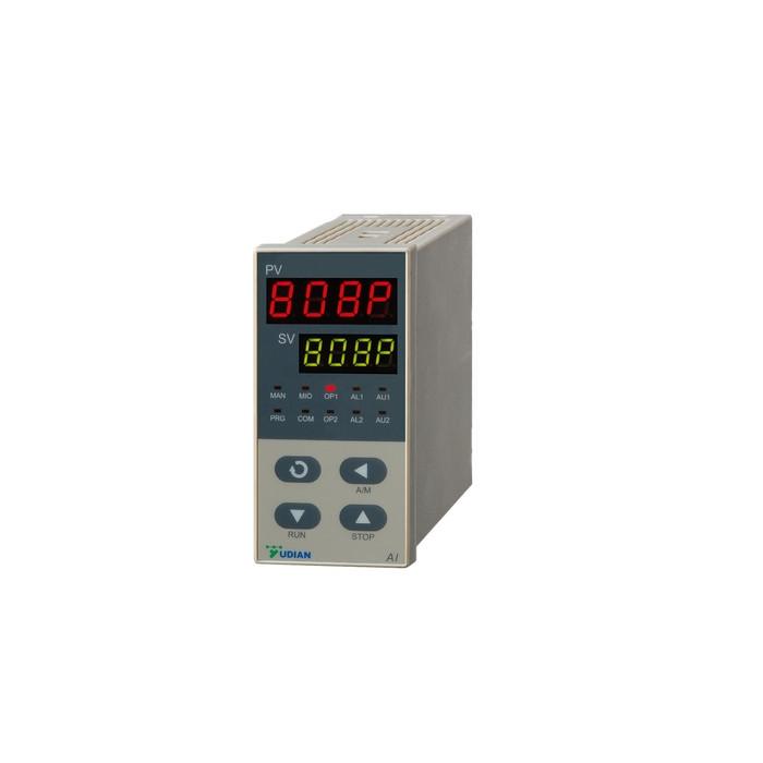 精确稳定、功能强大 AI-808人工智能温控器/调节器 除支持标准电流(电压)信号输入外,还支持各种热电偶、热电阻、电阻及辐射(红外)温度计等,并具备扩充输入插座安装特殊输入规格,并可自定义特殊输入的非线性校正表格,可外接Cu50铜电阻作热电偶冷端补偿,0.1级测量精度,温漂小于30PPm/。 除主输入外的第二路输入用于外给定或阀门信号反馈功能,可组成串级或比值调节器等复杂调节系统。  模块化输出支持SSR电压、线性电流(电压)、继电器触点