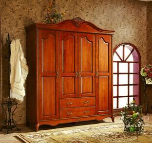 欧洲小镇简欧深色白色实木枫木弯顶外抽四门大衣柜
