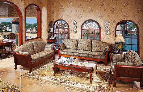 欧洲小镇简欧深色白色客厅实木枫木布艺沙发-钱眼