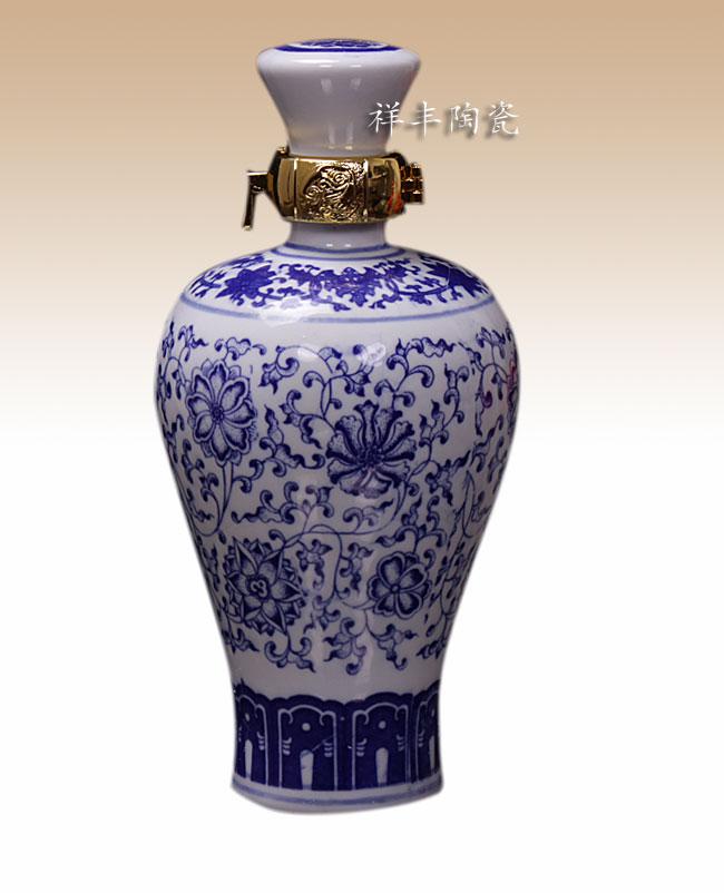 公司酒类1斤装景德镇陶瓷陶瓷青花瓷梅瓶酒瓶蚌埠广告设计酒坛图片