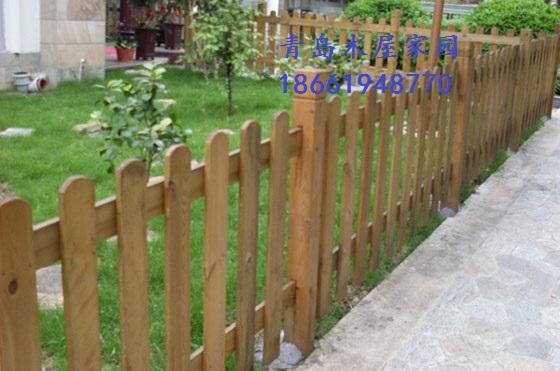 青岛木栅栏防腐木围栏庭园景观施工