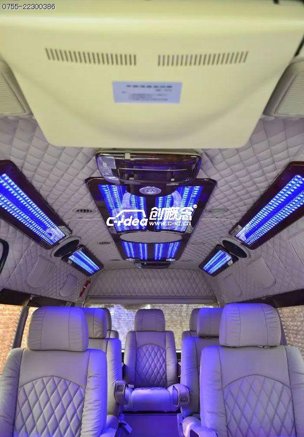 丰田海狮商务车内饰改装,音响改装,灯光改装,座椅包真皮