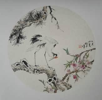 张淑平小写意花鸟画小品仙鹤图