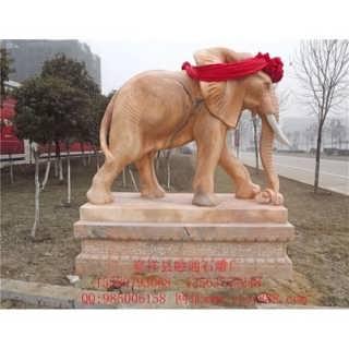 石雕大象雕塑|大象石雕图|晚霞红石雕大象