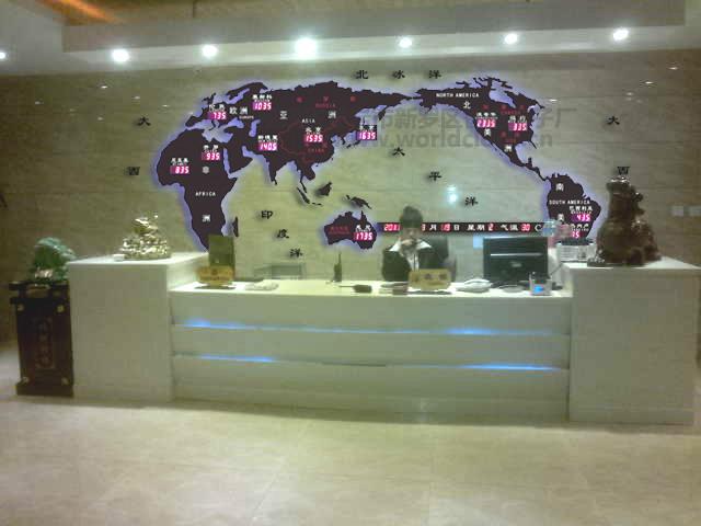 龙岩智电 酒店背景墙 世界地图时间时差电子钟