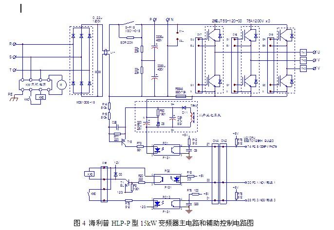 一台送修15kW品牌海利普变频器(参见我上一篇发的主电路图),电源开关合闸即跳,用户怀疑变频器损坏送修。测量变频器主R、S、T与P、N主端子之间的电阻正常,逆变功率电路也无问题,慎重起见,用调压器为变频器调压供电,试进行起、停操作,变频器工作正常。判断故障原因为用户为变频器所供电的电源开关(60A空气断路器)不良,建议用户更换后试机,变频器工作正常。变频器维修热线:0755-84576463 QQ:1228730615           [北京慧博时代科技有限公司深圳分公司工程师检修小结] 本例故障,将
