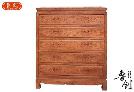 新款汉宫五斗柜定做全实木家具价格,东阳木雕图片,红木家具价格