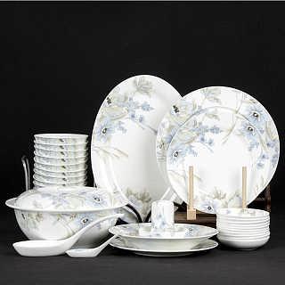 碗碟套装景德镇56头陶瓷高档餐具套装 欧式浮雕金边套
