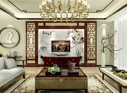 中式酒红仿红木电视墙罗马柱造型镂空价格图片