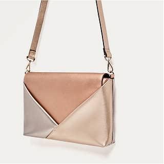 海外正品ZA家女包包盖式撞色多色镀金信封包