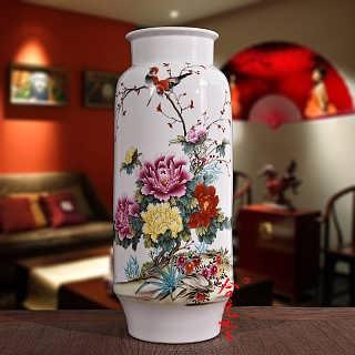景德镇手绘花瓶 大师手绘粉彩花瓶花开富贵