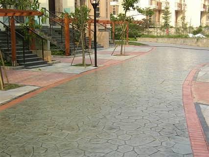 仿青石压印路面施工报价 压花地坪做法-上海市梦逊实业有限公司