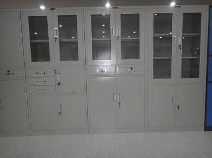 供应合肥铁皮文件柜 分体双节 玻璃门 带抽屉 储物