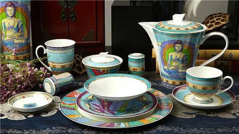 梵卡莎 餐具套装 骨瓷家用碗碟套装碗盘欧式创意陶瓷高档礼盒