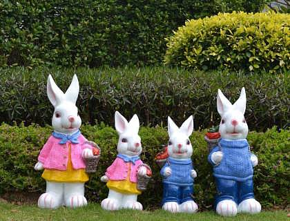 玻璃钢商场形象卡通公仔雕塑 动物玻璃钢小白兔雕塑