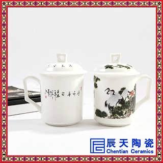 手绘粉彩仕女杯    青花瓷陶瓷茶杯