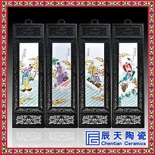 荷花九鱼图瓷板画   大型装饰瓷板画