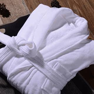 淮安毛巾厂家批发酒店白色割绒青果领男女通用浴袍-淮安市酒店毛巾厂