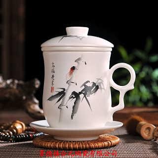景德镇带盖带过滤网四件套陶瓷茶杯