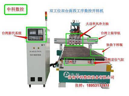 中科1350双工位四工序数控开料机板式家具数控下料机
