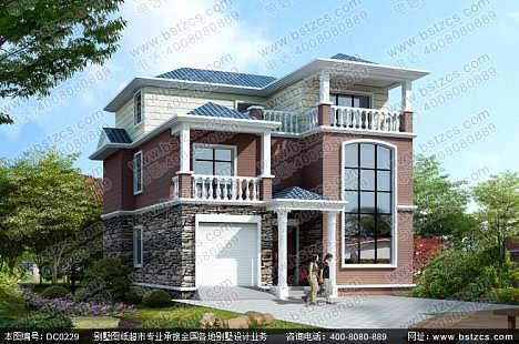 复式三层带车库简欧小别墅设计效果图