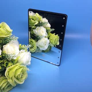 带灯16LED支架镜 方形台式镜 LED化妆镜 便携镜折叠镜 可调亮度