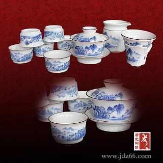 陶瓷茶具礼品 手绘青花茶具定制-景德镇唐龙陶瓷有限责任公司