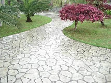 艺地仿石压花地坪 水泥印花地面 混凝土压模路面