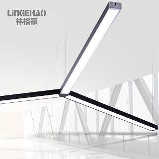 林格豪led长条灯办公照明办公室吊灯简约现代长方形铝材吊线灯具