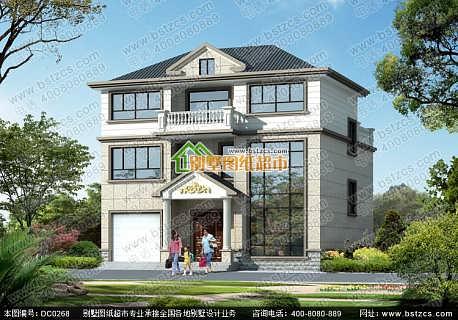 经典三层带车库复式小别墅设计效果图