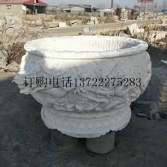 天然大理石圆形龙缸龙纹龙头流水石槽雕刻庭院摆件