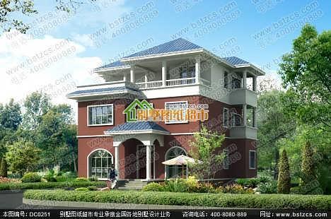 三层自建房设计_农村实用三层带露台别墅设计效果图