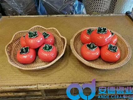 陶瓷柿子摆设两用茶叶罐厂家定制批发