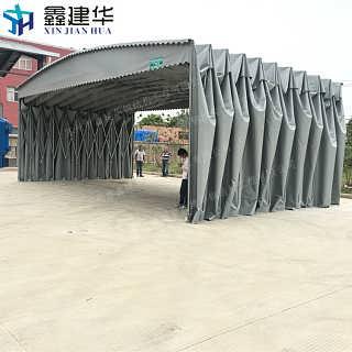 无锡宜兴市伸缩式活动雨棚电动遮阳蓬大型推拉篷雨棚厂家