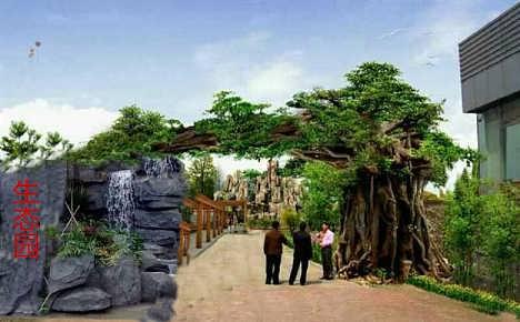 生态大门施工-假树门楼制作-仿真树门楼-单县山坡园林景观工程部