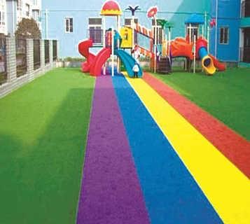 人造草坪幼儿园草坪彩虹仿真草坪-任丘市博纳体育工程有限公司.
