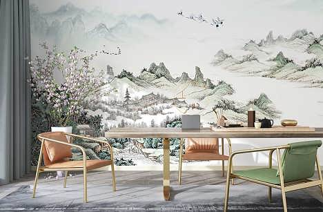 JCC天洋免胶水 乐在山水间 新中式山水古韵意境背景墙