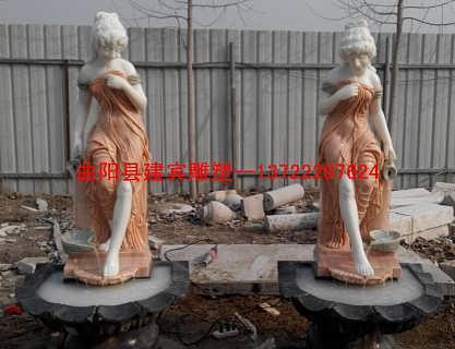 庭院流水�W式西方人物美女倒水石雕壁泉大理石流水�[件