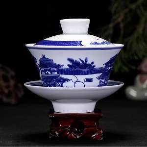 景德镇盖碗青花瓷三才杯泡茶盖碗-景德镇市锦辰陶瓷有限公司