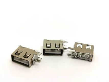 USB2.0母座  AF90度侧插10.0短体   直边鱼叉脚O型脚  白胶-深圳市永欣成科技有限公司