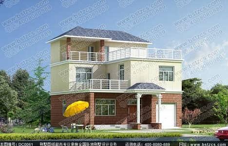 120平方米二层半平屋顶农村别墅设计全套效果图施工图图片