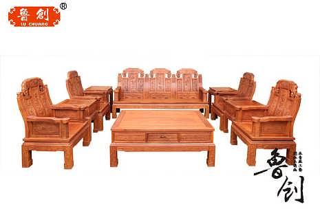 非洲花梨木沙发象头福禄寿沙发组合明清古典雕刻