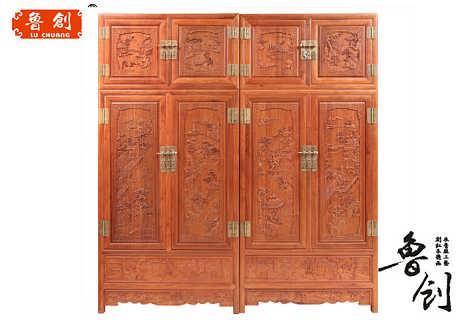 山水顶箱柜定做花梨木红木家具价格,东阳木雕家具图片