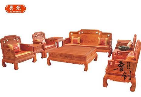 红木沙发全实木中式客厅沙发组合新中式国色天香缅