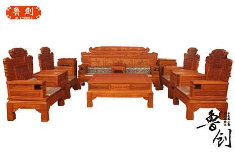 之霖家具 中式现代简约 客厅实木沙发套装组合 橡木新中式沙发红木色