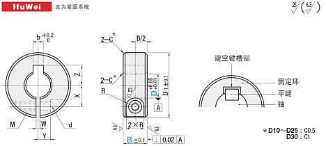 键槽的画法_固定环开口型避空键槽型尺寸