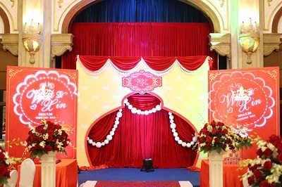 上海高端婚礼背景布置 舞台搭建 灯光音响租赁led大屏